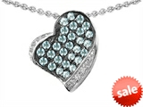 Original Star K™ Heart Shape Love Pendant With Simulated Aquamarine