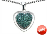 Original Star K™ Heart Shape Love Pendant with Simulated Emerald style: 306204