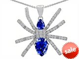 Original Star K™ Spider Pendant With Pear Shape Created Sapphire