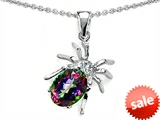 Original Star K™ Spider Pendant With 9x7mm Oval Rainbow Mystic Topaz