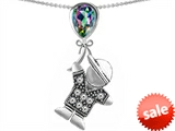 Original Star K™ Little Boy Holding a Balloon Mother Birthstone Rainbow Mystic Topaz Pendant