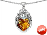 Original Star K™ Loving Mother And Family Pendant With Heart Shape 8mm Genuine Citrine style: 306212