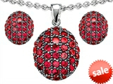 Original Star K™ Created Ruby Oval Puffed Pendant Box Set with matching earrings