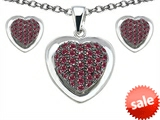Original Star K™ Created Ruby Heart Shape Love Pendant with matching earrings style: 306219