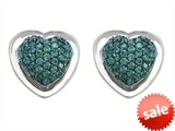 Original Star K™ Heart Shape Love Earrings with Simulated Emerald style: 306220