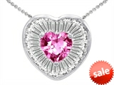 Original Star K™ Heart Shape Created Pink Sapphire Heart Pendant