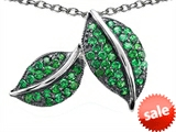 Original Star K™ Nature Lover Leaf Pendant with Simulated Emerald style: 306222