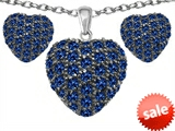 Original Star K™ Created Sapphire Puffed Heart Love Pendant with matching earrings style: 306223