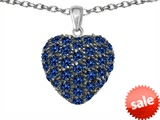 Original Star K™ Puffed Heart Love Pendant with Created Sapphire