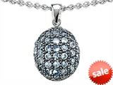 Original Star K™ Oval Puffed Pendant with Simulated Aquamarine style: 306225