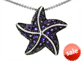 Original Star K™ Starfish Pendant With Round Simulated Amethyst