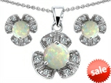 Original Star K™ Created Opal Flower Pendant Box Set With Matching Earrings