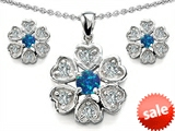 Original Star K™ Simulated Blue Opal Flower Pendant With Matching Earrings style: 306231