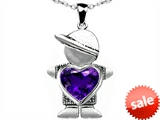 Original Star K™ Boy Holding 8mm Mother Heart January Birthstone Pendant with Simulated Amethyst style: 306233
