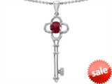 Tommaso Design™ Key to my Heart Clover Key Pendant with Round Created Ruby and Genuine Diamonds style: 306235