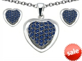 Original Star K™ Created Sapphire Heart Shape Love Pendant with matching earrings style: 306236
