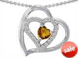 Original Star K™ Heart Shape Genuine Citrine Pendant