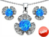 Original Star K™ Simulated Blue Opal Flower Pendant With Matching Earrings style: 306240