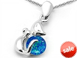 Original Star K™ Round 6mm Created Blue Opal Cat Pendant style: 306242