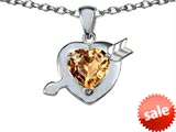 Original Star K™ Heart With Arrow Love Pendant With Simulated Imperial Yellow Topaz style: 306243