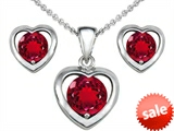 Original Star K™ Created Ruby Heart Pendant with matching earrings style: 306244