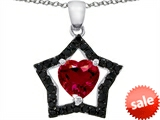 Original Star K™ Heart Shape Created Ruby Black Star Pendant