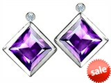 Original Star K™ Square Genuine Amethyst Earring Studs With High Post On Back