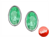 Original Star K™ Oval Genuine Emerald Bezel Set Small Earring Studs