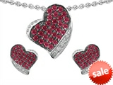 Original Star K™ Created Ruby Heart Shape Love Pendant With Matching Earrings style: 306251