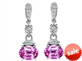 Original Star K™ Created Pink Sapphire 1.50 Inch Hanging Drop Earrings
