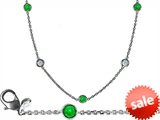 Original Star K™ 16 Inch Gems By The Yard Necklace With Round Simulated Emerald