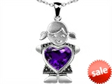 Original Star K™ Little Girl Holding 8mm Heart Mother Birthstone Pendant with Genuine Amethyst