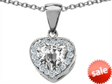 Original Star K™ 8mm Heart Shape White Topaz Heart Pendant