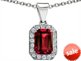 Original Star K™ Emerald Octagon Cut Created Ruby Pendant style: 306265