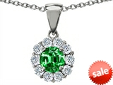 Original Star K™ Round Simulated Emerald Pendant