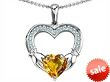 Celtic Love by Kelly Hands Holding 8mm Heart Claddagh Pendant With Simulated Citrine