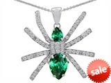 Original Star K™ Spider Pendant With Pear Shape Simulated Emerald style: 306270
