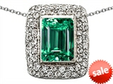 Original Star K™ Emerald Cut Simulated Emerald Pendant
