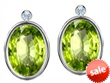 Original Star K™ Oval Genuine Peridot Earring Studs With High Post On Back