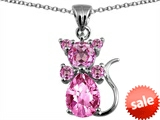 Original Star K™ Cat Pendant With Created Pink Sapphire