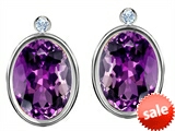 Original Star K™ Oval Genuine Amethyst Earring Studs With High Post On Back
