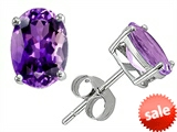 Original Star K™ Classic Oval 7x5mm Genuine Amethyst Earrings Studs style: 306277