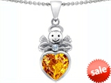 Original Star K™ Love Angel Pendant With 10mm Simulated Citrine Heart