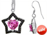 Original Star K™ Heart Shape Created Pink Sapphire Black Star Hanging Hook Earrings