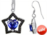 Original Star K™ Heart Shape Created Sapphire Black Star Hanging Hook Earrings