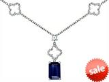 Original Star K™ Emerald Cut Created Sapphire Necklace style: 306281