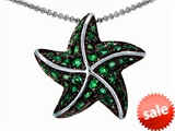 Original Star K™ Starfish Pendant With Round Simulated Emerald