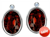 Original Star K™ Oval Genuine Garnet Earrings Studs With High Post On Back style: 306290