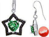 Original Star K™ Heart Shape Simulated Emerald Black Star Hanging Hook Earrings