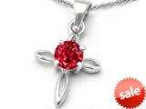 Original Star K™ Round Created Ruby Cross Pendant